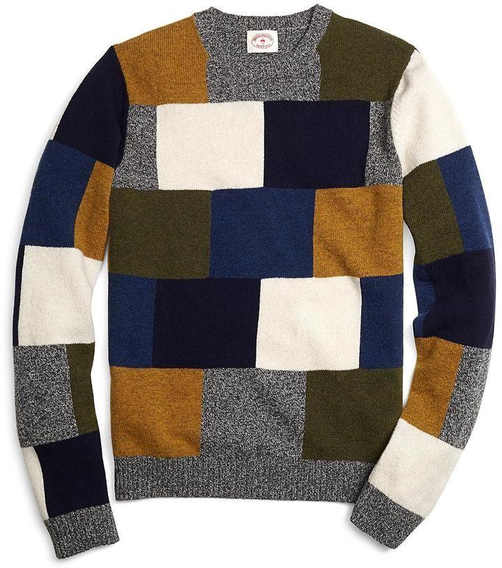 Brooks Brothers Red Fleece ウール パッチワーク クルーネックセーター / crew neck sweater on ShopStyle