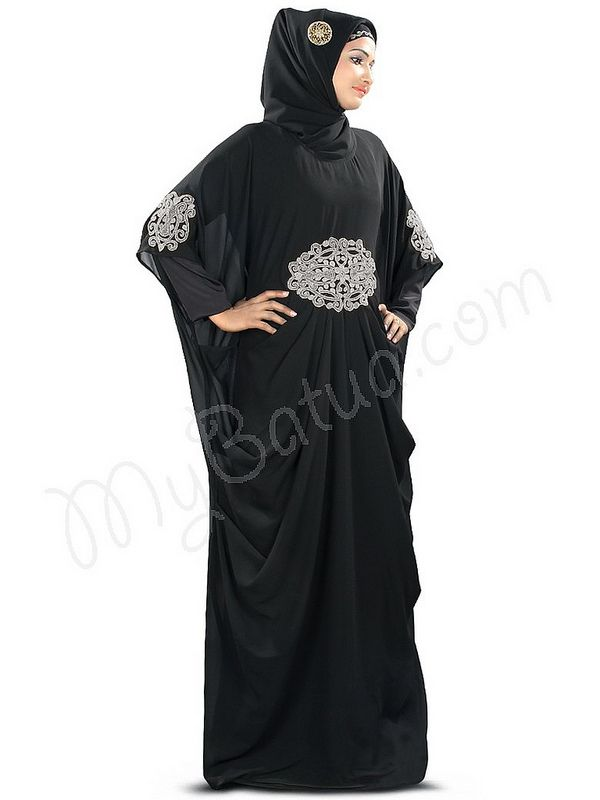 Beautiful Party Wear Amara Silver Embroidered Black #Kaftan|#MyBatua.com Style No : KF-008S Price : $52.80