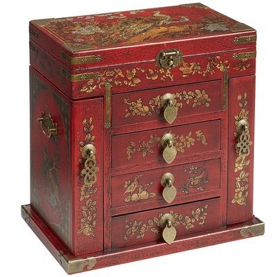 Red Peacock Jewelry Box