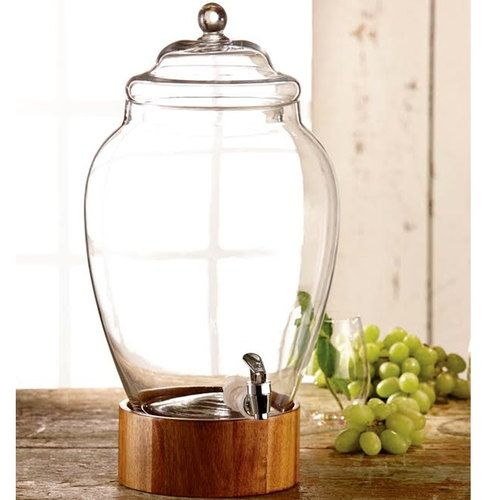 3 Gallon American Atelier Madera Glass Beverage Dispenser with Wood Base