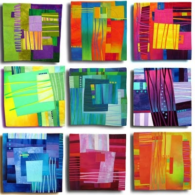 artist: Melody Johnson/ Classroom use/ Students given different color schemes (paper & glue) When tiles are done they work together to combine tiles into paper quilt, being mindful of surrounding colors. LOVE THIS!