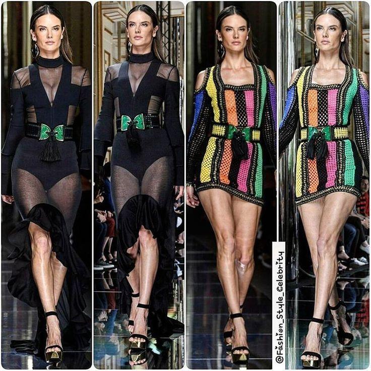 #AlessandraAmbrosio walking the Runway for #Balmain 2017#boots #casual #fashionista #black #spring #summer #dress #queen #legsfordays #fashion #blogger #croptop #omg #doubledenim #monochrome #heels #angel #vs #victoriassecret #model #adidas #stansmith #superstar #supermodel #beauty #makeup... - Celebrity Fashion