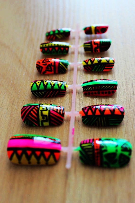 Bright Neon Tribal / Aztec/ African Press On Nail Set #tribal #Christmas #nails www.loveitsomuch.com