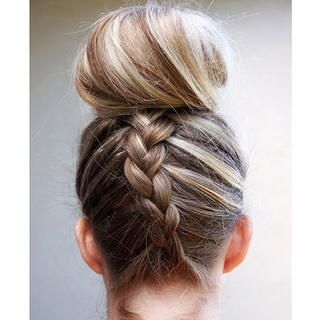 Dutch Braided Top Knot http://www.womenshealthmag.com/beauty/hairstyles-for-wet-hair/dutch-braided-top-knot