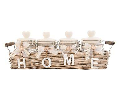 Set porta spezie in rattan e vetro Francoiise bianco/naturale, 48x18x13 cm