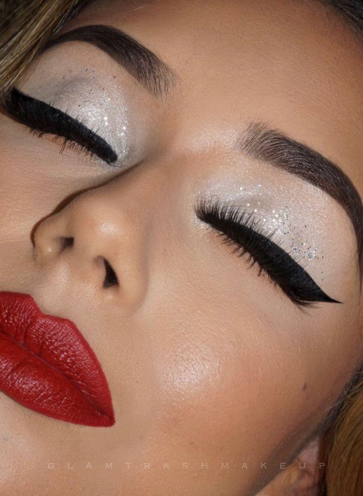 Holiday Christmas makeup white Eyeshadow red lip