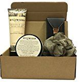 Gifts For Him!  Mens Grooming Sets  Mens Gift Sets  Gift For Him  Loofah Manicure/Pedicure/Tweezer/Beard-Mustache Scissors More -Several Sizes & Scents- (Wit & Wisdom Spiced Cedar)