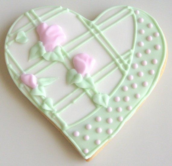 Pink and Green Collection Wedding Cake Cookies by lorisplace