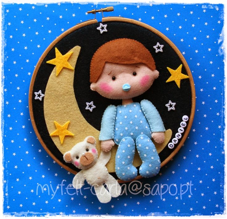 Wall Art Hoop - Cute Baby, Moon, and Bear - Hoop Felt Bow Wreath - Felt Craft…