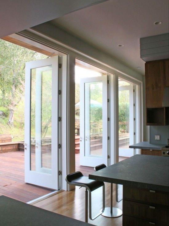 : Ideas, Kitchens Design, Doors Design, French Doors, Architecture, Patios, Open Kitchens, Modern Kitchens, Sliding Doors