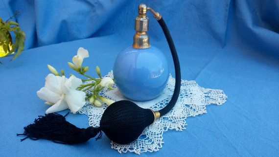 Blue Perfume Bottle Vintage Perfume Atomizer by FrenchDelights