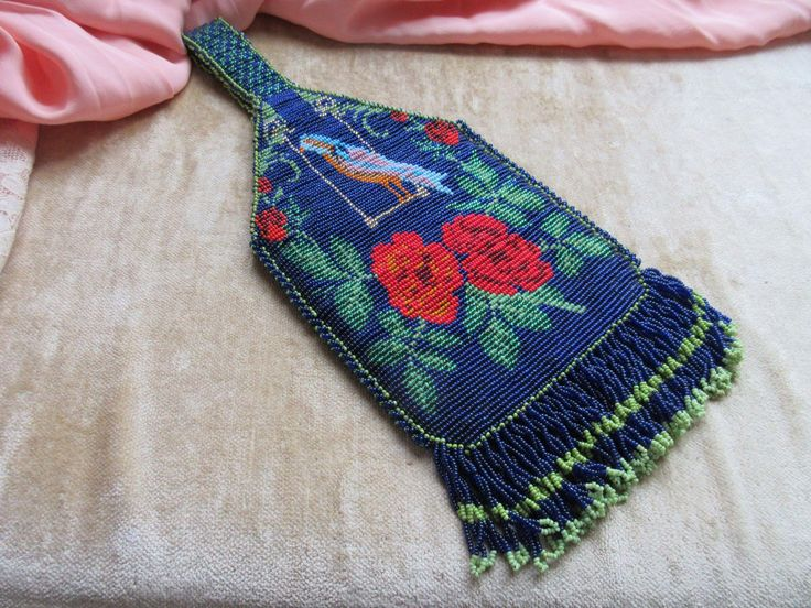 Vintage Beaded Purse Bag Floral and Blue Bird Motif