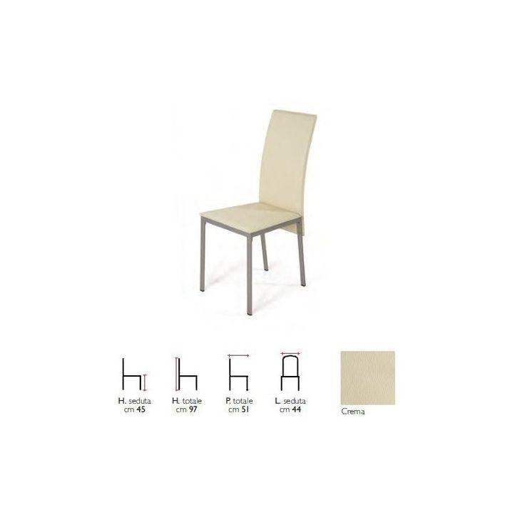 Sedia in Kit, con struttura in metallo verniciato. Seduta e schienale in PVC effetto cuoio. Colore Struttura : Silver