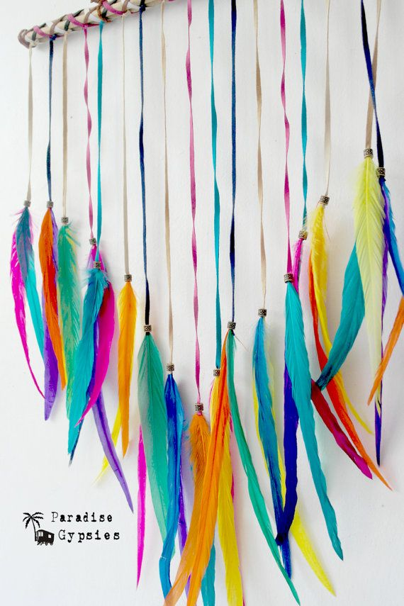 Rainbow Dreamer Wall Hanging Full Feather by ParadiseGypsies