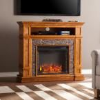 Ethan 45.5 in. W Simulated Stone Media Center Electric Fireplace, Sienna With Faux Black River Stone