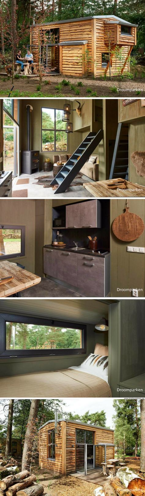 A cozy tiny house, designed and built for a family of four at the Droomparken tiny house resort