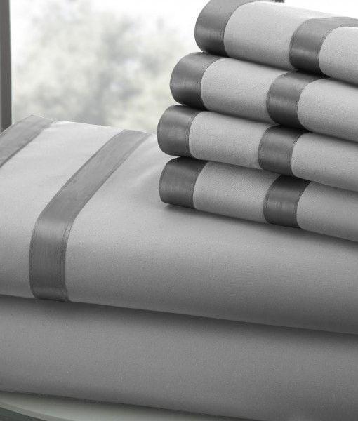 1000 Thread Count Egyptian Cotton Sheet Set (Silver/Graphite) King