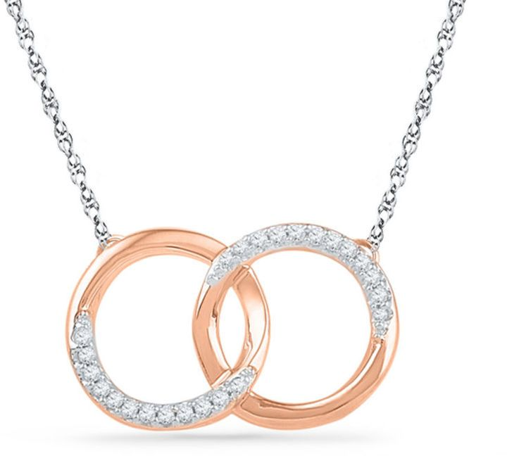Zales 1/10 CT. T.W. Diamond Interlocking Circles Necklace in 10K Rose Gold