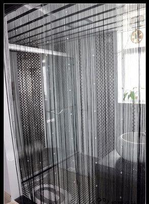Black door window panel room divider string curtain - Crystal door curtain beads ...