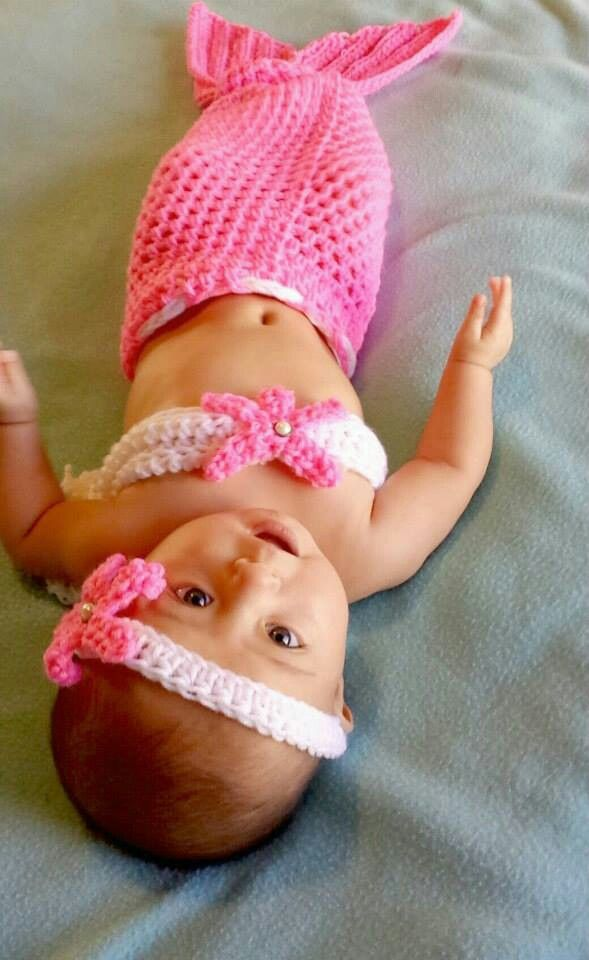 So have to have one of my crochet pals make this for my Bella ~  So cute! Mermaid outfits coming soon to www.sparkleinpink.com