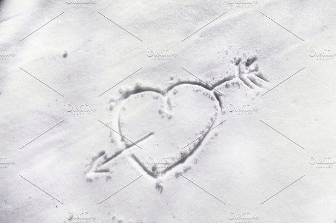 Heart drawn in the snow by OSORIOartist on @creativemarket