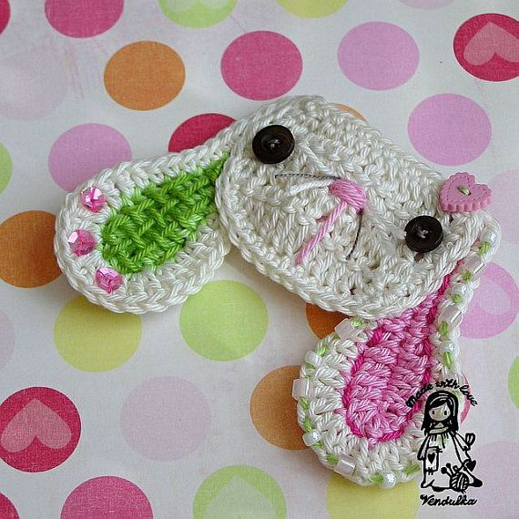 Crochet sweet bunny applique - pdf pattern DIY via Etsy