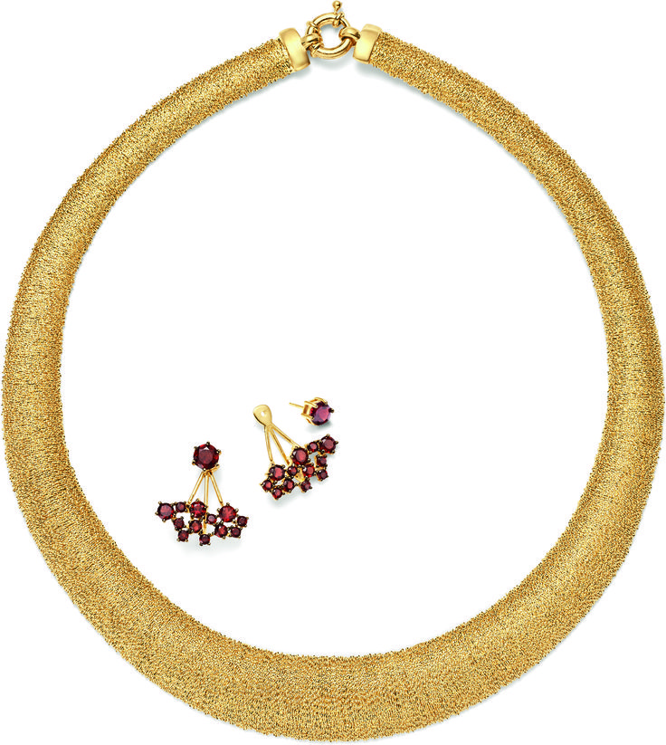 Bring on the drama with these statement making pieces! Garnet front-back earrings get the party started with the backs attached. They make a dynamic match to the Italian-made grand collar necklace. Item no. 872230, 873154