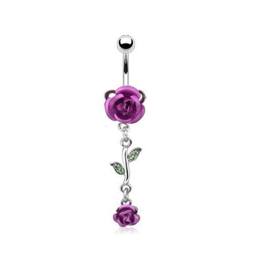 Navelpiercing dubbele roos paars