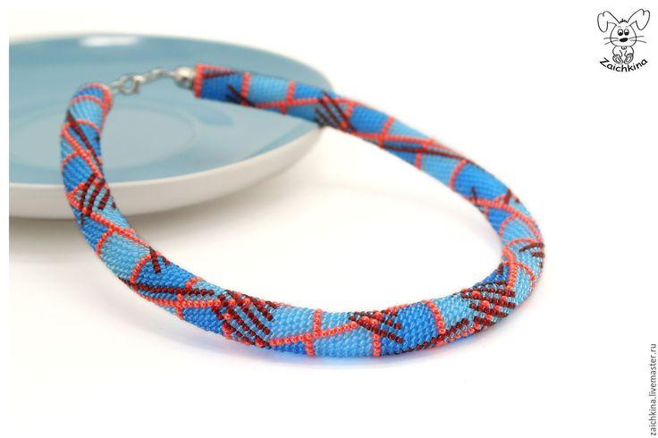 """Купить Голубой жгут из бисера """"В клетку"""" - голубой, темно-голубой, синий, красный, оранжевый"""