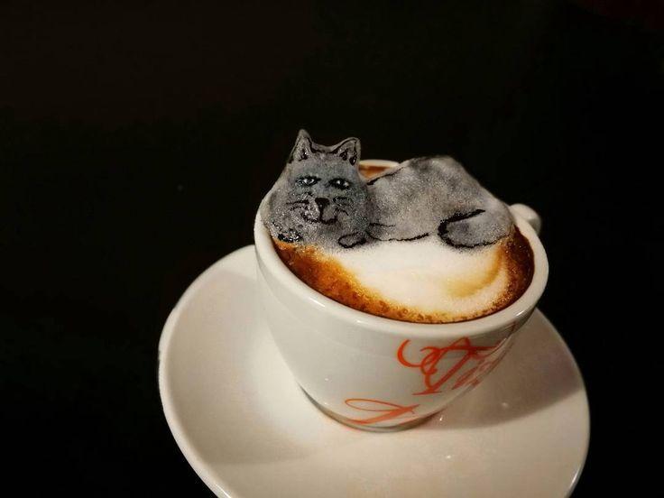 My 3D cat #cat #catlatte #3dcat #latte #latteart #barista #3dlatteart #3D #instacoffee #coffee #foodart #baristadaily #thetrendybarista #romania #creation #art #coffeegram #coffeetime #foodart #artwork #themotans #latteporn #latteartist #cappuccino #coffelovers #coffeeadict #InstaCoffeLovers #coffeeoftheday #coffeetime