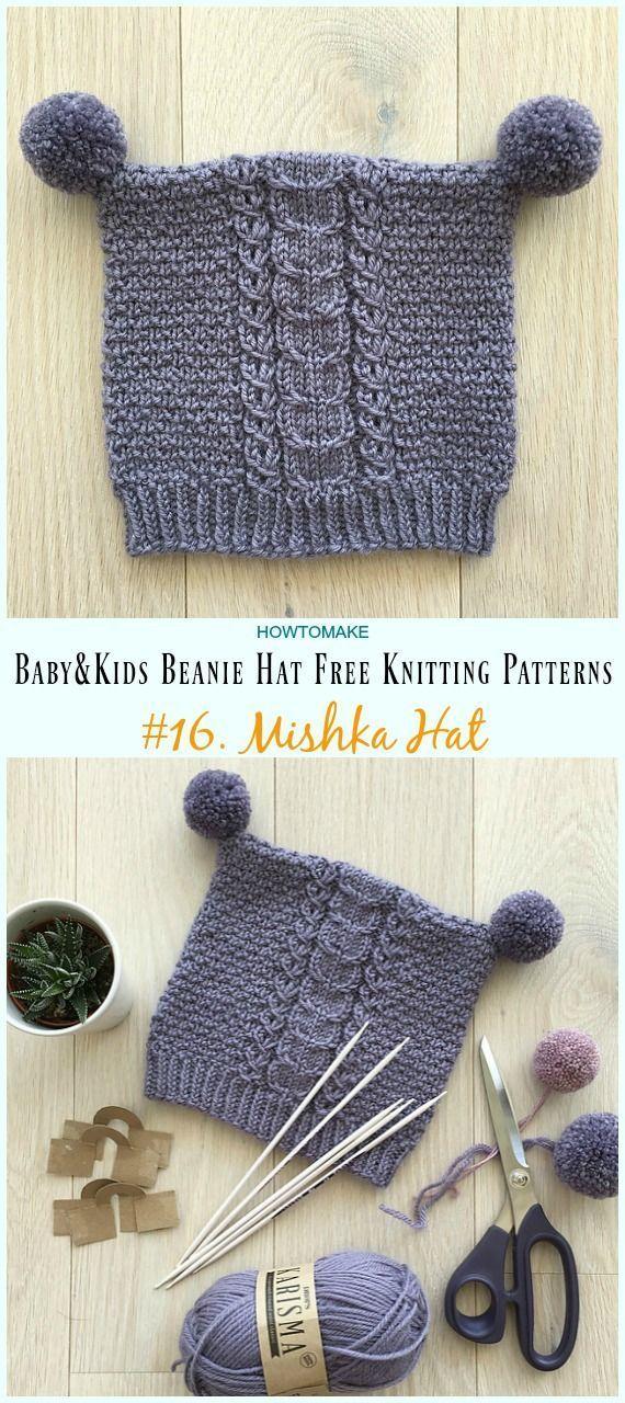 5aff91d8407 Mishka Hat Knitting Free Pattern - Baby   Kids Beanie  Hat  Free  Knitting