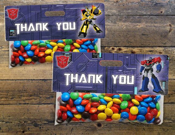 Transformers Themed Birthday Snack Bag Toppers. Download and Print 4 Unique…