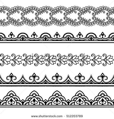Set of seamless borders for design and application of henna. Mehndi style.