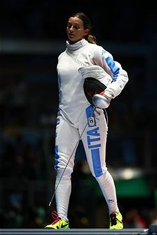 Rossella Fiamingo of Italy looks dejected against Emese Szasz of Hungary during the Women's Epee Individual Gold Medal match on Day 1 of the Rio 2016 Olympic Games at Carioca Arena 3 on August 6, 2016 in Rio de Janeiro, Brazil.