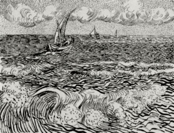 A Fishing Boat at Sea - Vincent van Gogh. Completed by : 1888, Arles, Bouches-du-Rhone, France, Post Impressionism, Genre: Marina, Ink on paper. | via wikipaintings.org