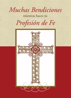 Spanish RCIA Blessings on Profession of Faith Catholic, Cross on Red (1390078)