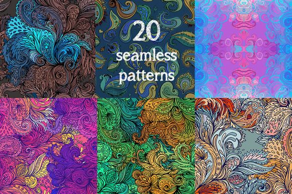 60 Ornate Paisley Pattern Set by Varvara Gorbash on Creative Market