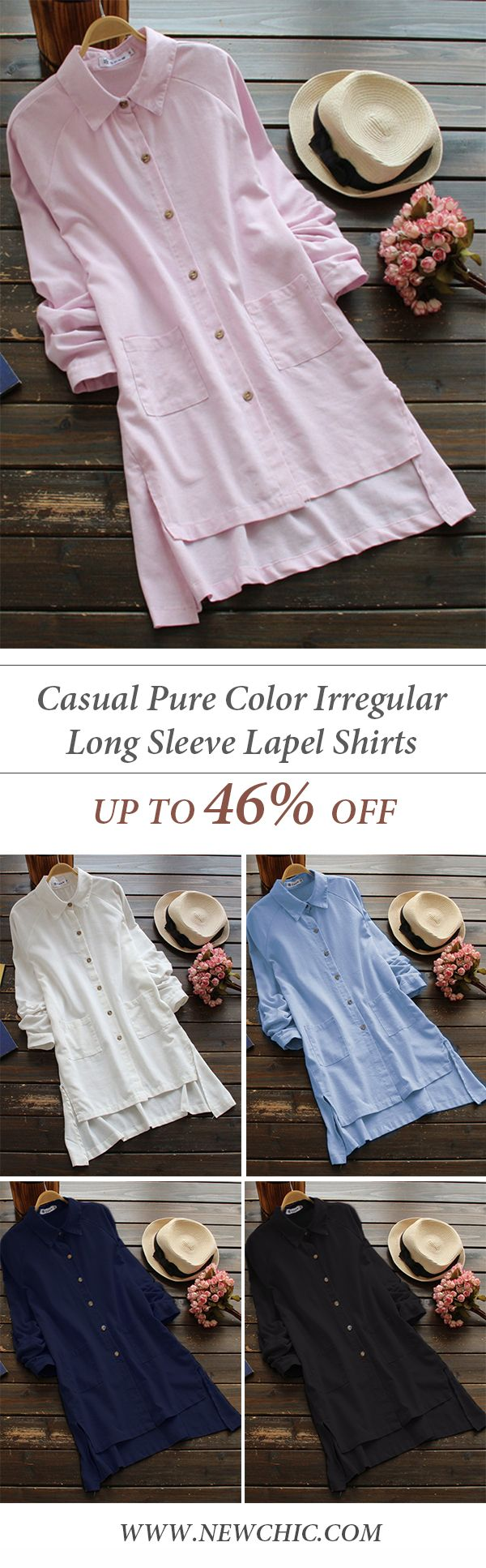 [Newchic Online Shopping] 46%OFF Women's Casual Pure Color Irregular Shirts with Long Sleeve and Lapel Collar #shirts  #womenswear #womensfashion