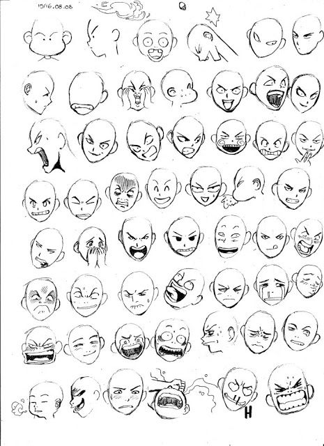 Como Desenhar Mangá: Gabarito de Expressões