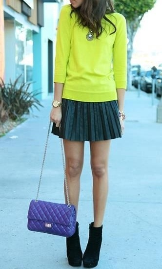 Pleated mini skirts.: Colors Combos, Chanel Bags, Leather Skirts, Ashley Madekwe, Minis, Bold Colors, Bright Colors, Pleated Skirts, Neon Yellow