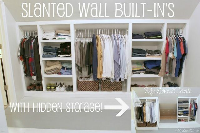slanted wall built in s with hidden storage, closet, diy, shelving ideas, storage ideas