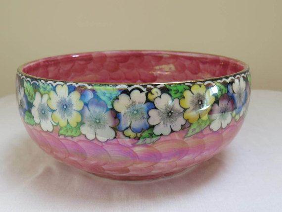 Lustre rose et fleuri Vintage bol par Maling par WestCoastChinaDoll
