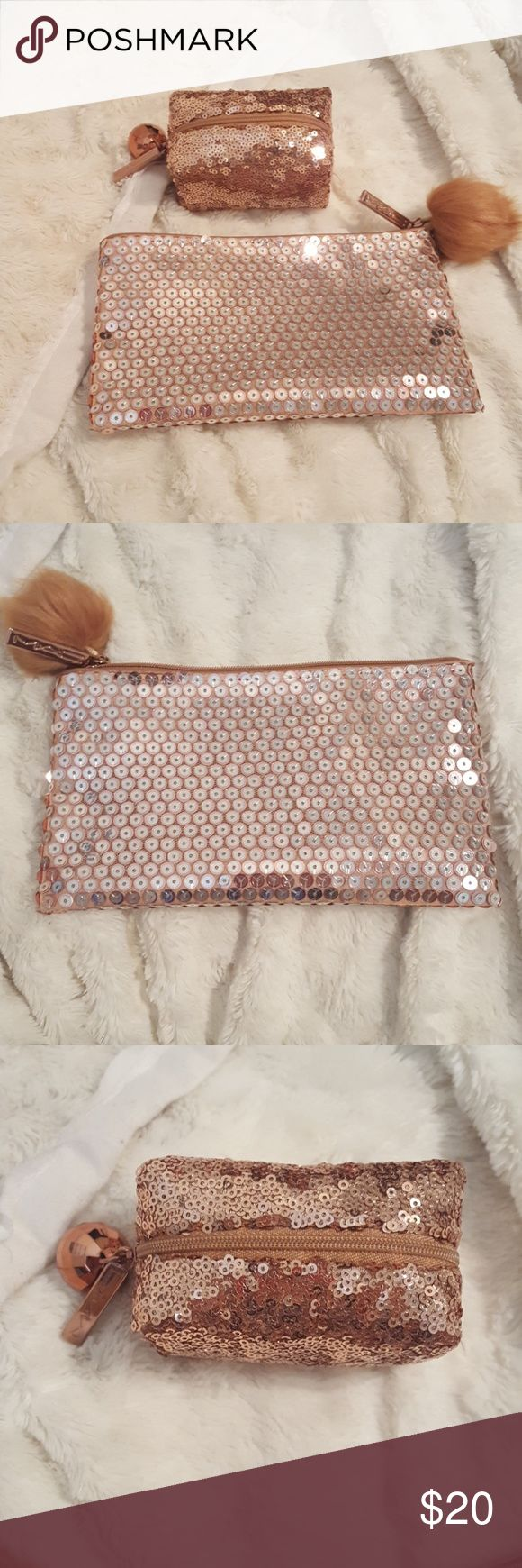 NWOT MAC make up bags. Two MAC makeup bags from their holiday collection.  Both are rose gold and super sparkly! They are brand new. These are just the bags, no product. MAC Cosmetics Makeup Brushes & Tools