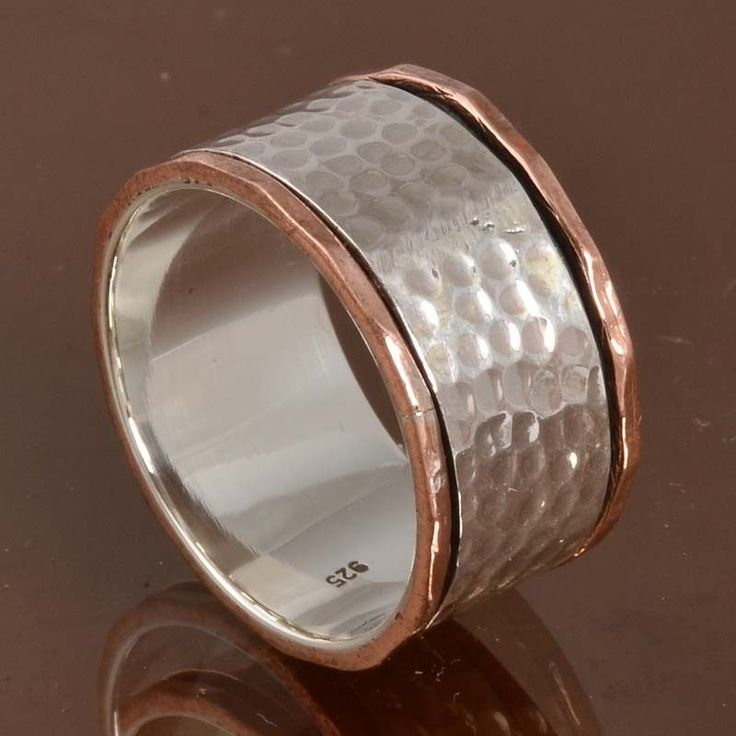 925 SOLID STERLING SILVER LATEST Two Tone Spinner RING 6.69g DJR10091 SZ-8.75…
