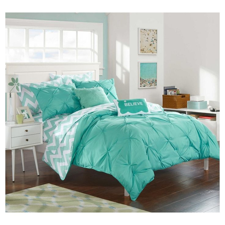 Foxville Pinch Pleated and Ruffled Chevron Print Reversible Comforter Set 7 Piece (Twin XL) Aqua (Blue) - Chic Home Design