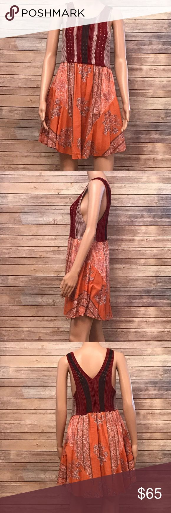 Free People Red Combo Dress 109 Bodice: 100% Rayon Skirt: 100% Cotton  Lining: 100% Rayon  Hand Wash cold Free People Dresses