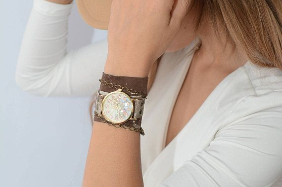 Flower Watch Floral Watch Brown Leather Watch Leather Wrap