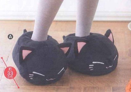 Nemuneko Plush Slippers2 Typ-A:Black About 13in. Kawaii