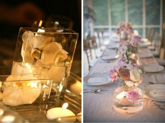 rechteckige und runde Glasbehälter mit schwimmenden Blumen