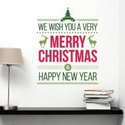 We wish you a very Merry Christmas Wall Sticker Adesivo da Muro